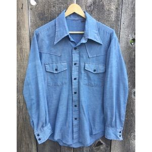 VTG 70s Chambray Work Shirt, Contrast Stitching